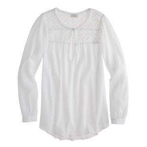 J. Crew White Cotton Embroidered Gauze Blouse Top